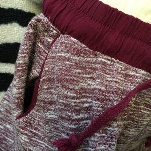 Ambiance Pants - Marled Burgundy Mid Rise Drawstring Jogger